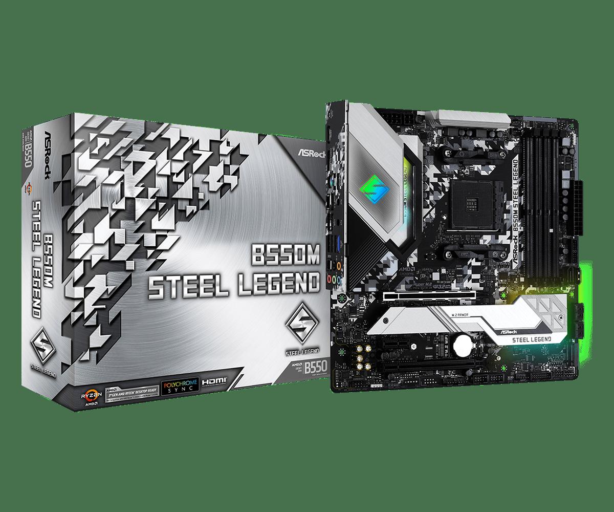 ASRock B550M Steel Legend Supports 3rd Gen AMD AM4 Ryzen/Future AMD Ryzen Processors Motherboard
